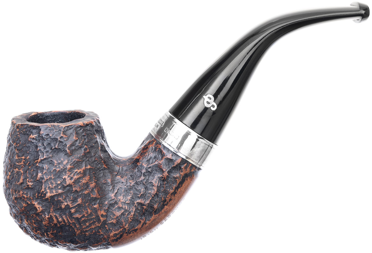 Irish Seconds Rusticated Bent Billiard with Silver Band Fishtail (2)
