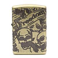 Lighters Zippo Antique Brass Freedom Skull