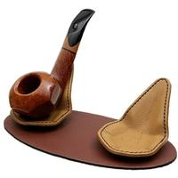 Pipe Accessories Claudio Albieri 2 Pipe Leather Magnetic Stand Brown/Tan