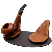Pipe Accessories Claudio Albieri 2 Pipe Leather Magnetic Stand Dark Brown/Russet