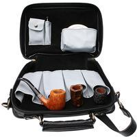 Pipe Accessories Claudio Albieri Italian Leather Elegance 4 Pipe Bag Black/Grey