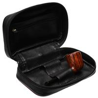 Pipe Accessories Smokingpipes Leather 2 Pipe Bag with Tobacco Pouch Black & Red