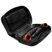 Pipe Accessories Smokingpipes Leather 3 Pipe Bag with Tobacco Pouch Black